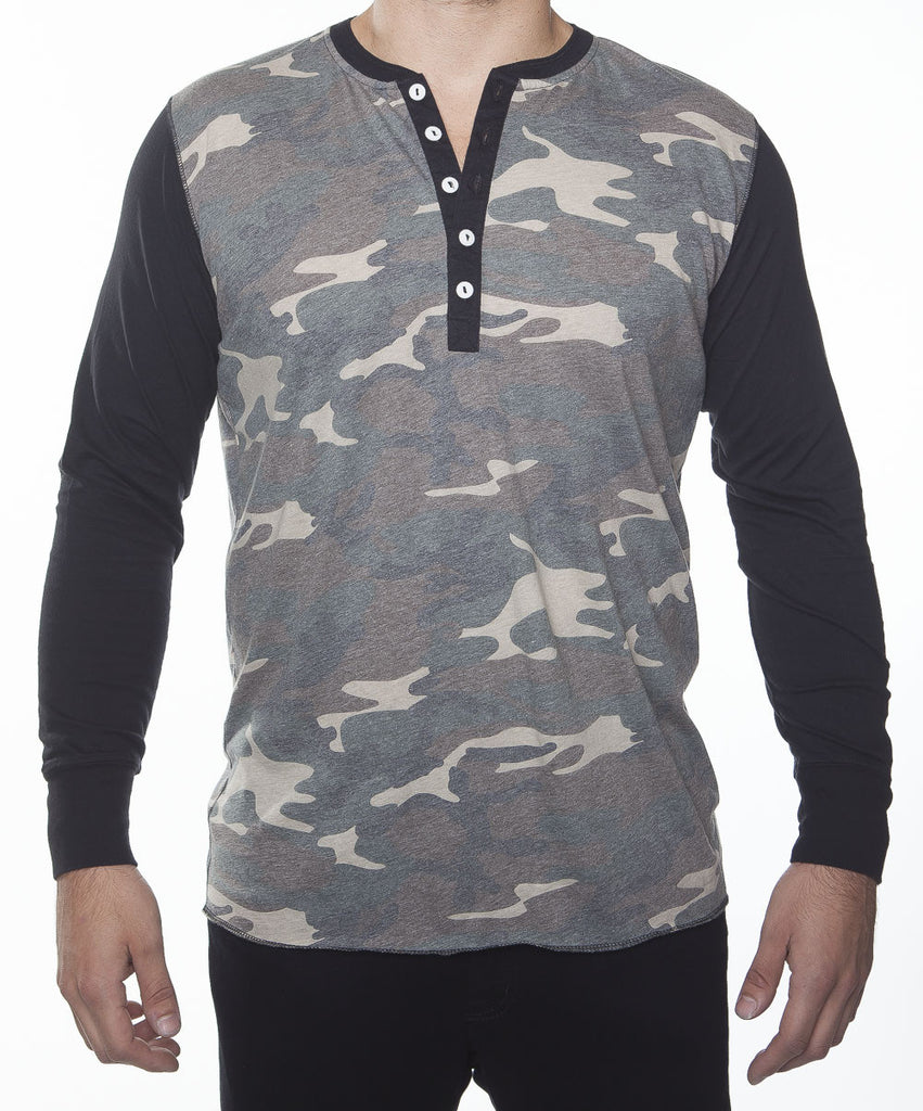 WORKSHOP CAMOUFLAGE LONG-SLEEVE COTTON-BLEND HENLEY
