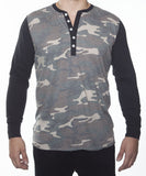 WORKSHOP CAMOUFLAGE LONG-SLEEVE COTTON-BLEND HENLEY  - 1