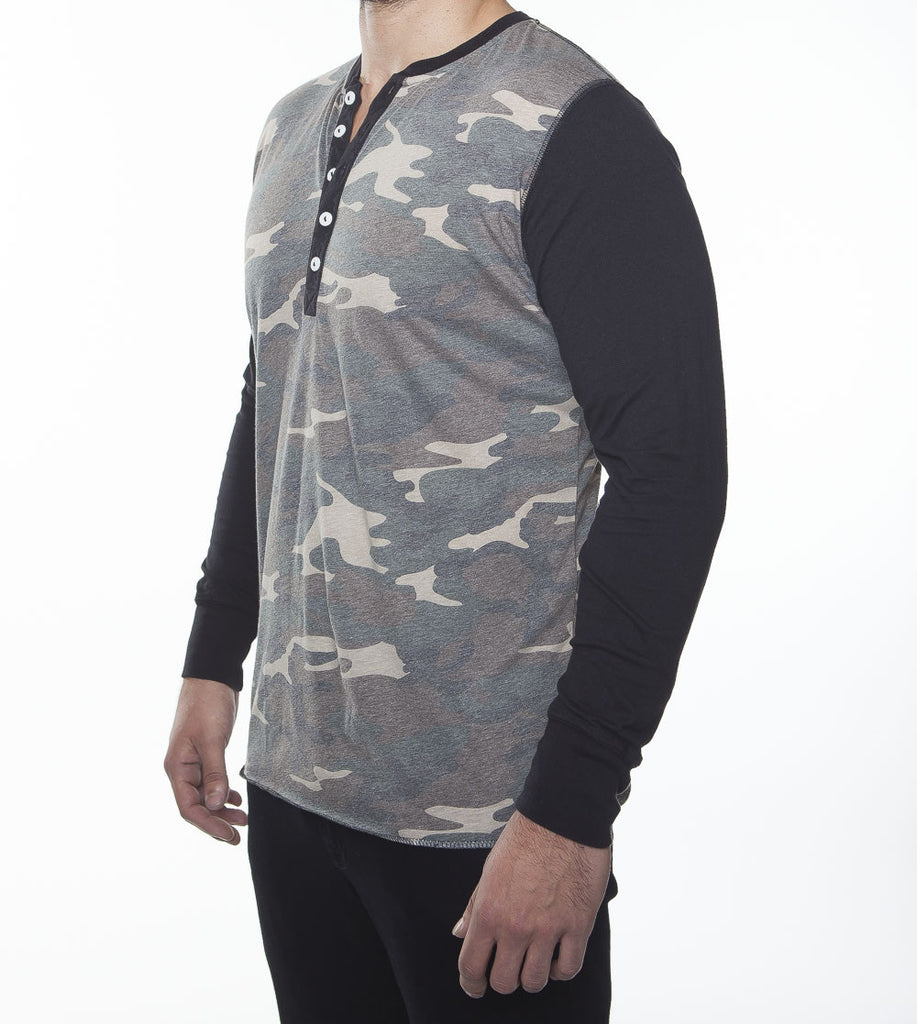 WORKSHOP CAMOUFLAGE LONG-SLEEVE COTTON-BLEND HENLEY  - 2