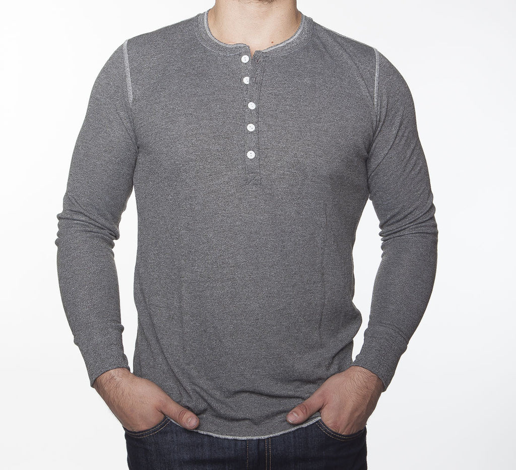 WORKSHOP CHARCOAL LONG-SLEEVE HENLEY  - 1