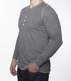 WORKSHOP CHARCOAL LONG-SLEEVE HENLEY  - 2