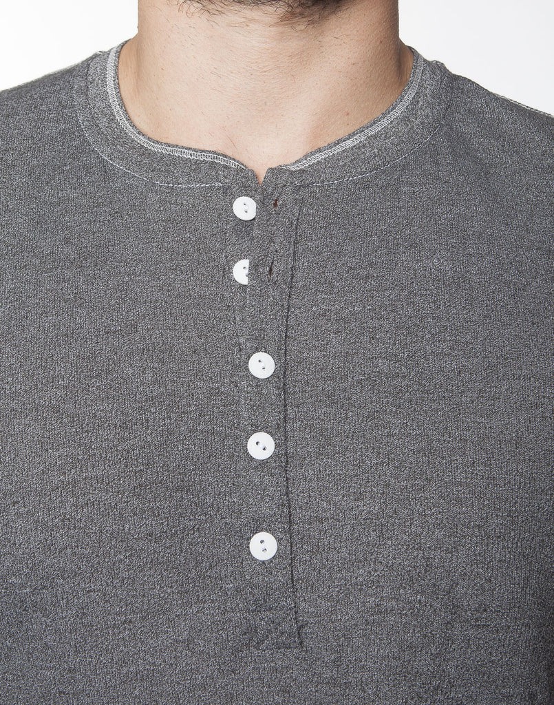 WORKSHOP CHARCOAL LONG-SLEEVE HENLEY  - 3