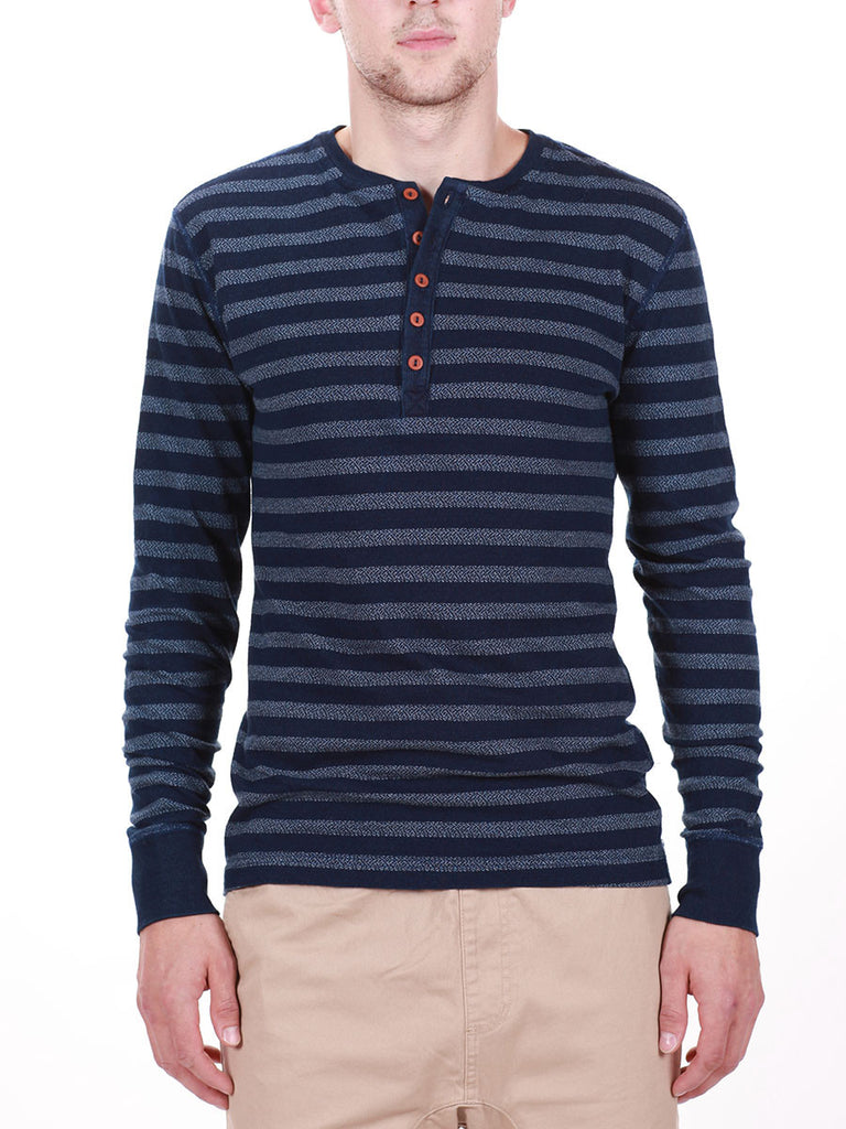 WORKSHOP INDIGO THICK STRIPED HENLEY  - 1