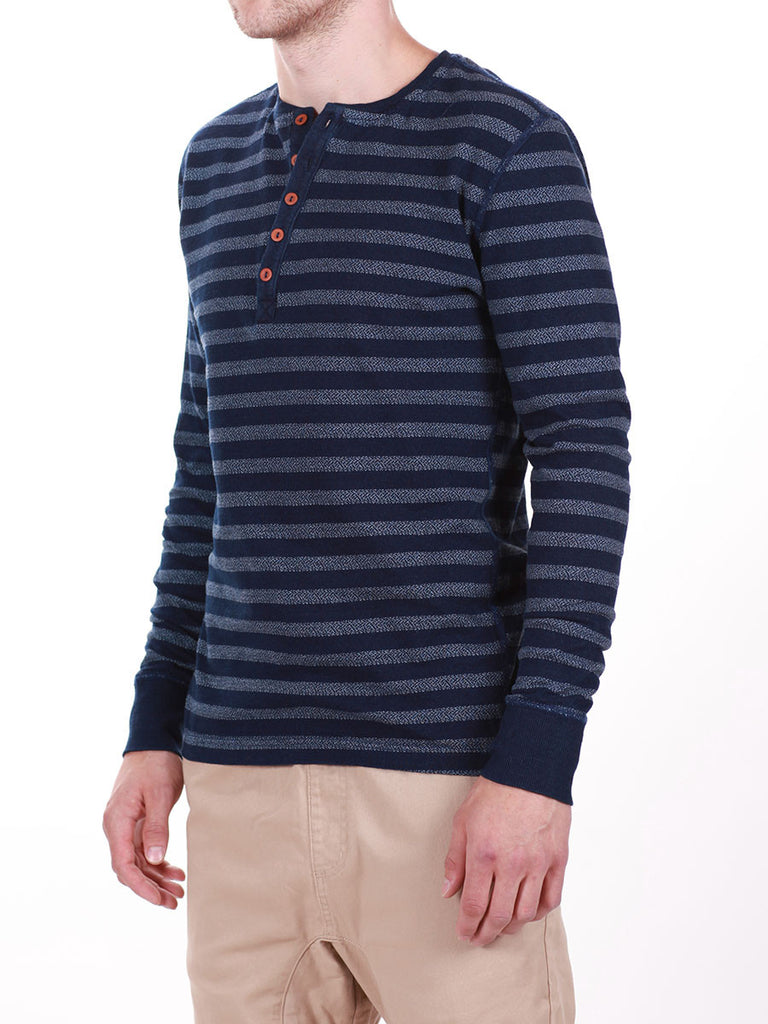 WORKSHOP INDIGO THICK STRIPED HENLEY  - 2