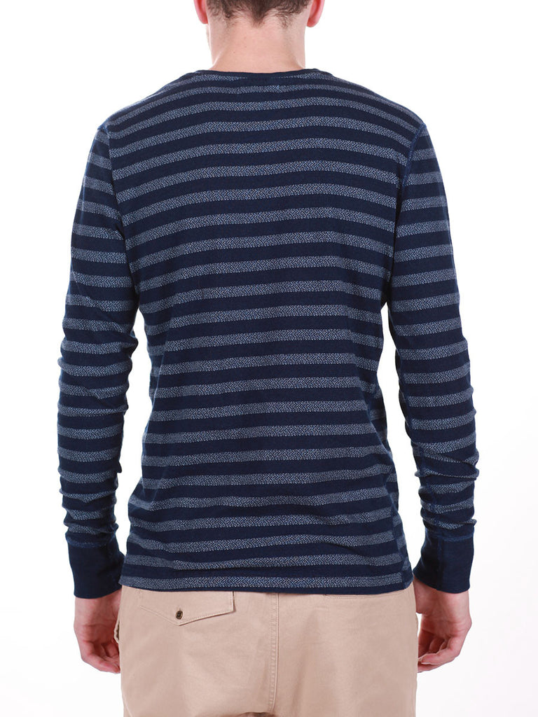 WORKSHOP INDIGO THICK STRIPED HENLEY  - 3