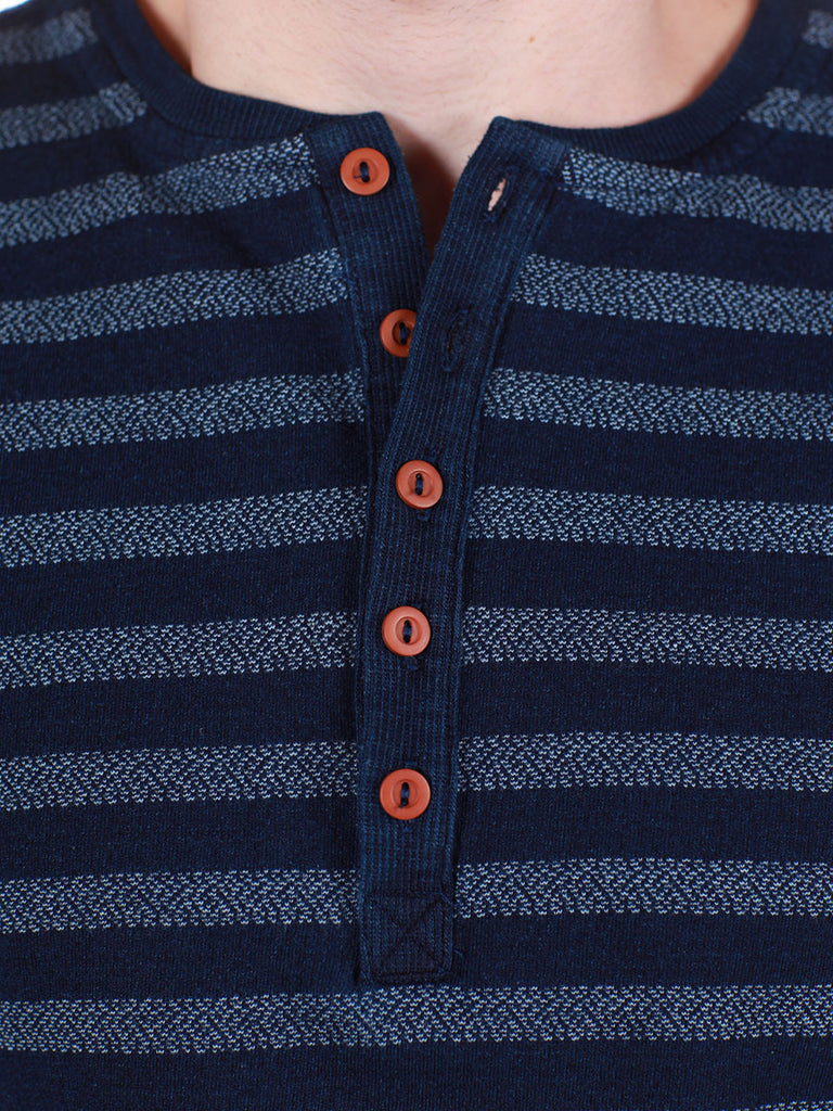 WORKSHOP INDIGO THICK STRIPED HENLEY  - 4
