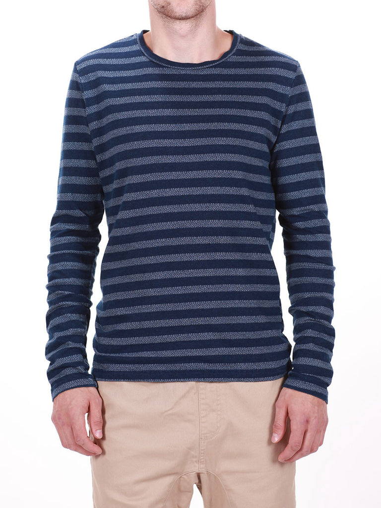 WORKSHOP INDIGO THICK STRIPED LONG-SLEEVE T-SHIRT  - 1