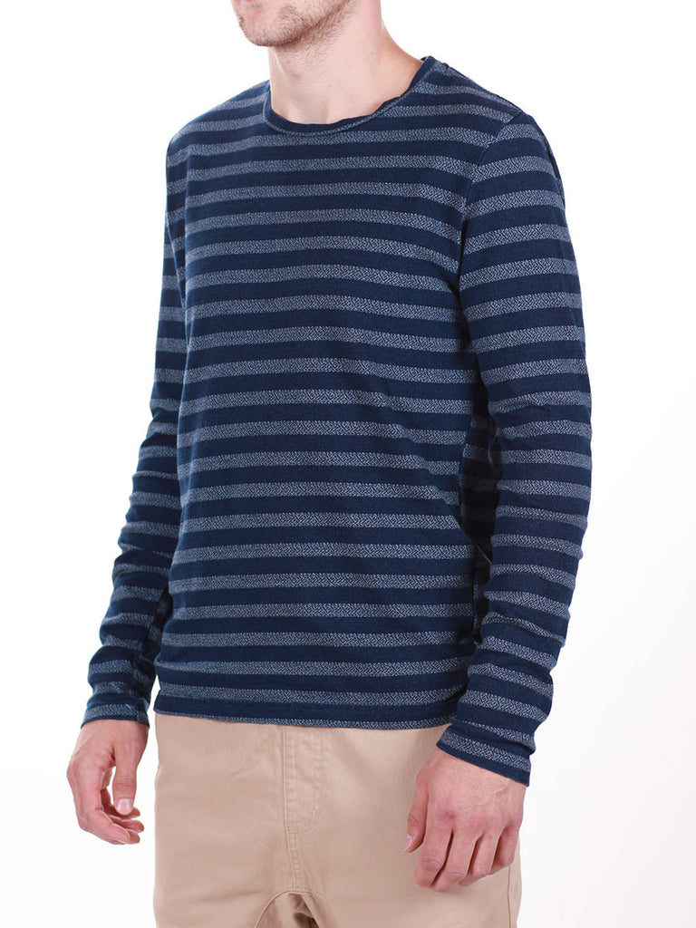 WORKSHOP INDIGO THICK STRIPED LONG-SLEEVE T-SHIRT  - 2