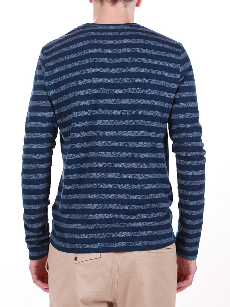 WORKSHOP INDIGO THICK STRIPED LONG-SLEEVE T-SHIRT  - 3