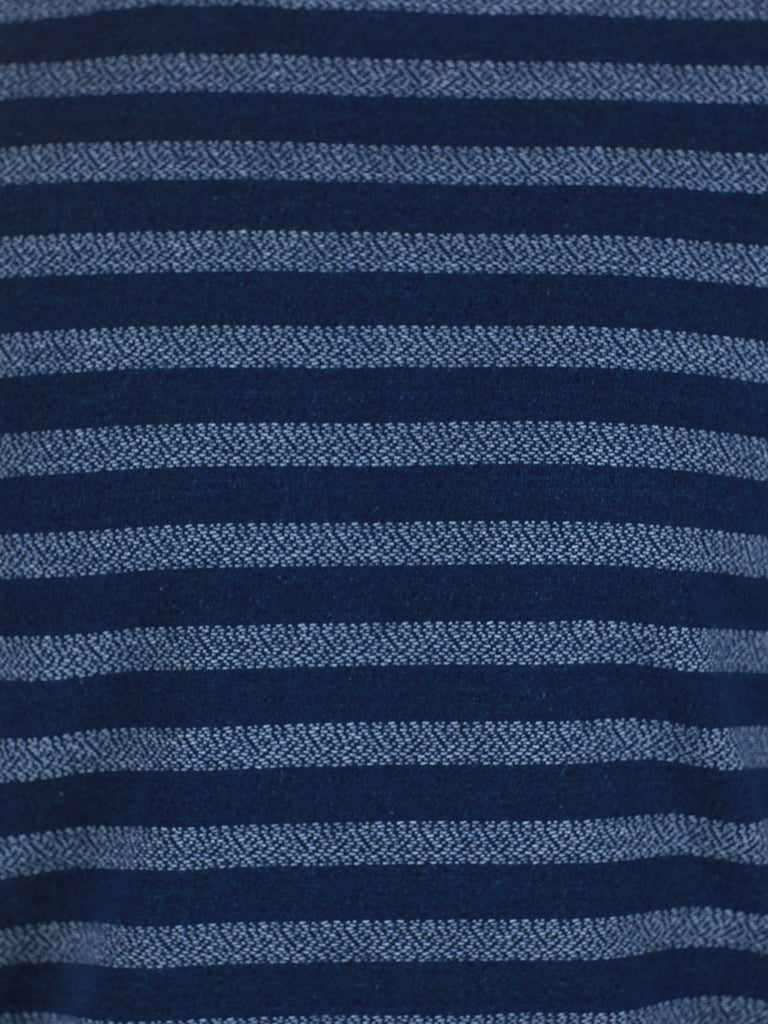WORKSHOP INDIGO THICK STRIPED LONG-SLEEVE T-SHIRT  - 4