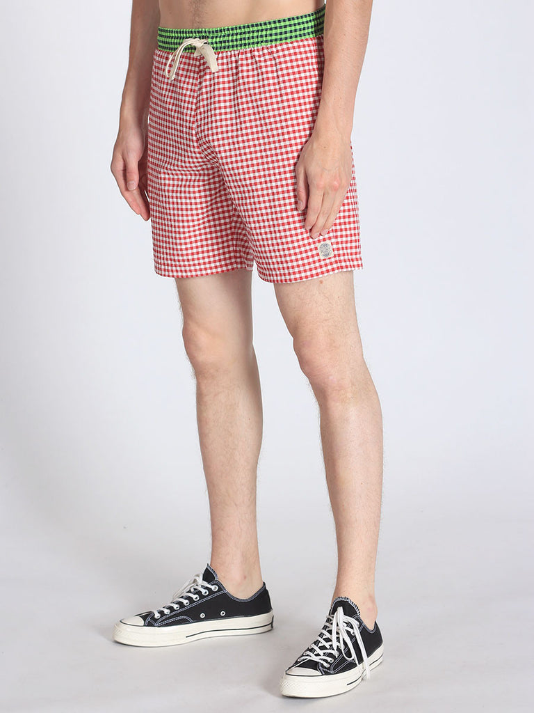 WORKSHOP SWIM TRUNKS IN RED GINGHAM AND GREEN WAISTBAND  - 3