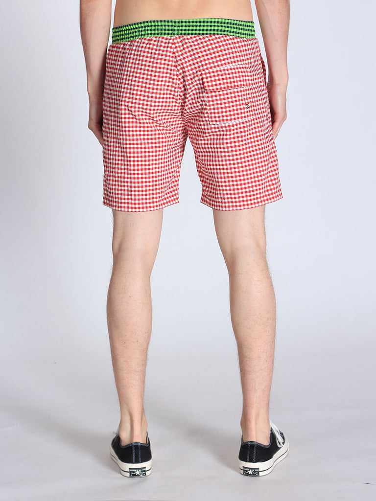 WORKSHOP SWIM TRUNKS IN RED GINGHAM AND GREEN WAISTBAND  - 2