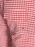 WORKSHOP SWIM TRUNKS IN RED GINGHAM AND GREEN WAISTBAND  - 5