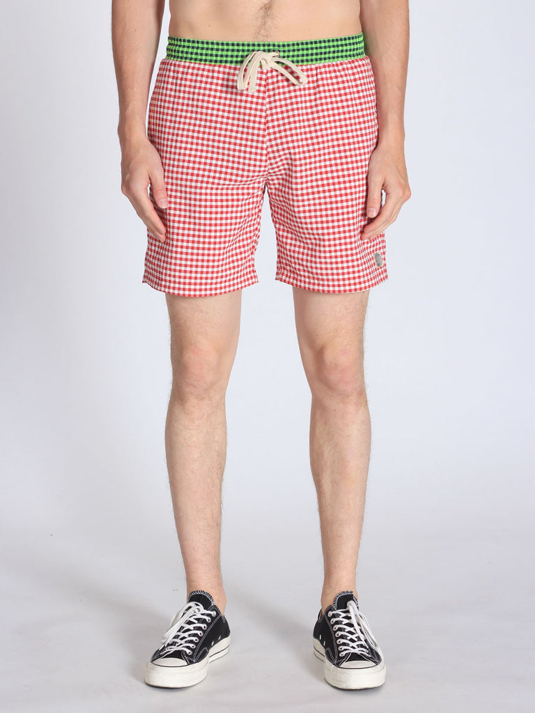 WORKSHOP SWIM TRUNKS IN RED GINGHAM AND GREEN WAISTBAND  - 1