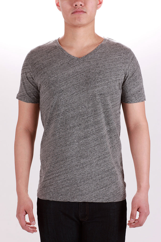 WORKSHOP V-NECK T-SHIRT IN LIGHT HEATHERED GREY  - 1