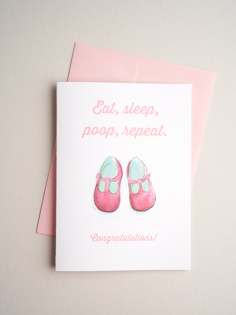 B-18-02 | Eat Sleep Girl - Greeting Cards - Queen & Grace