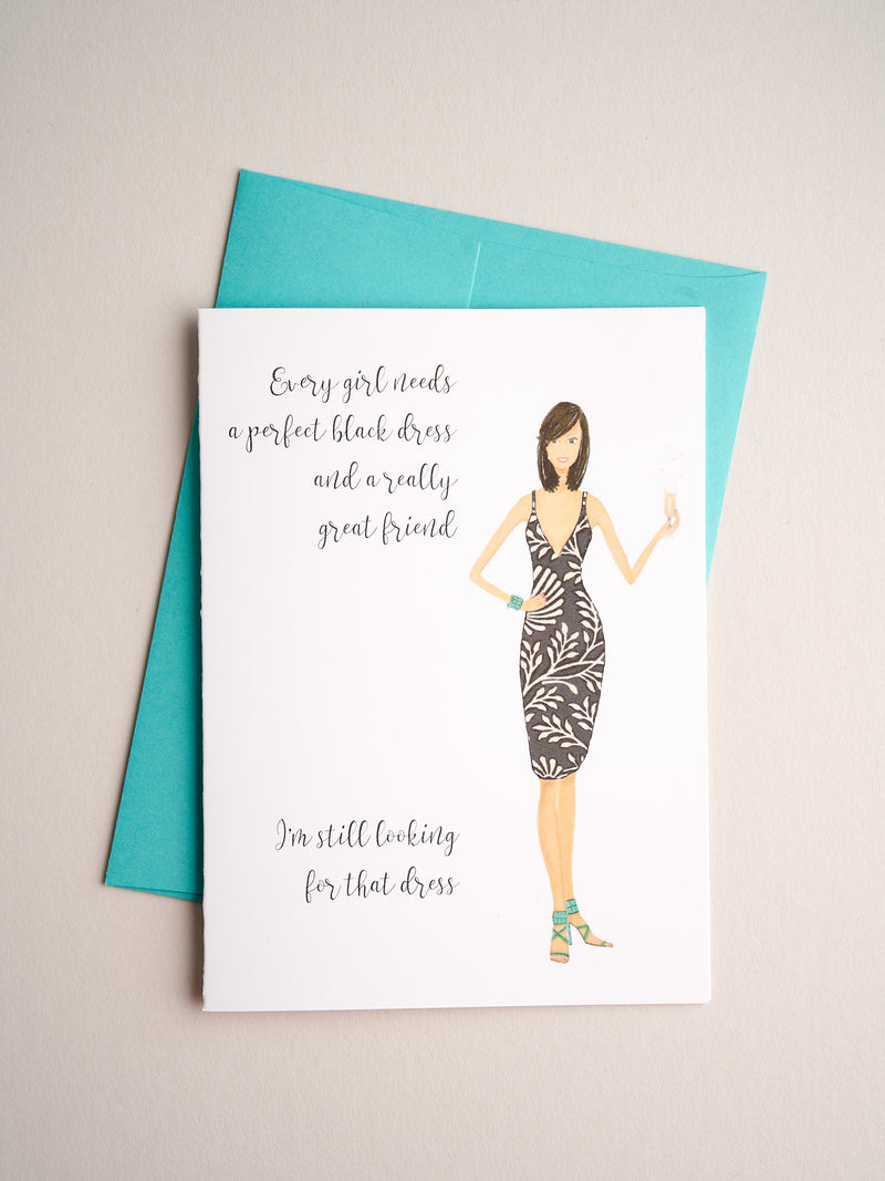 FR-R-08-39 | Black Dress - Greeting Cards - Queen & Grace