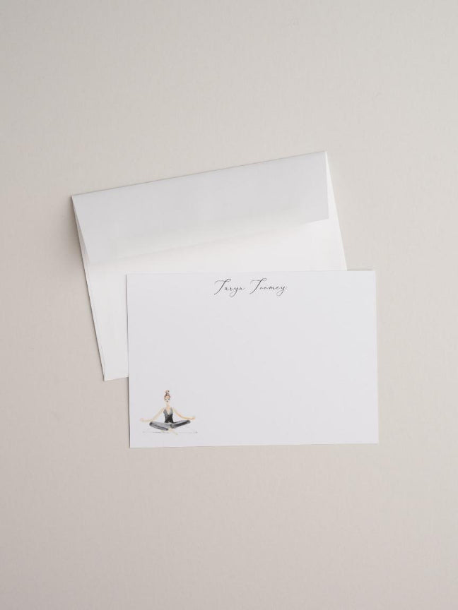 Seated Yoga Girl - Notecards