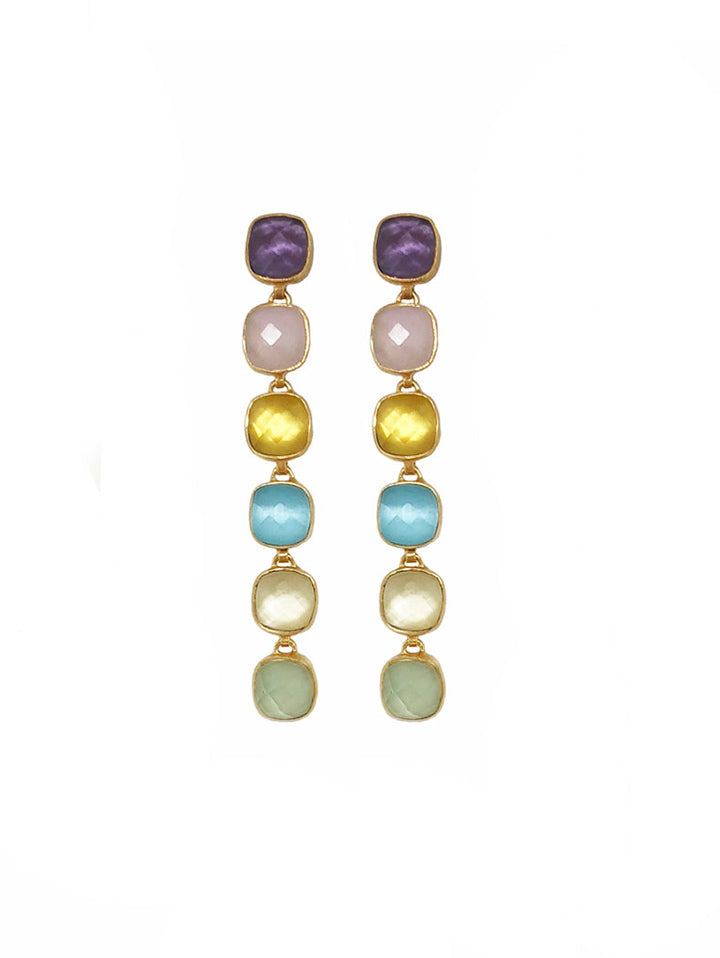 Earring Carre 6 Stone Blue