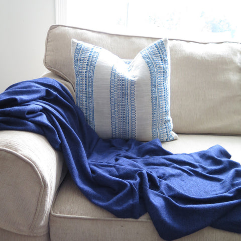 Cashmere Blanket - Heathered Blue