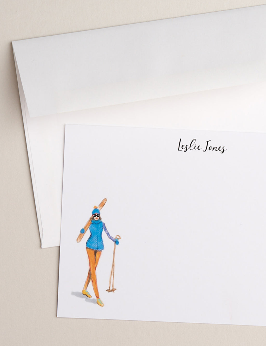 BLUE SKIER | Flat Panel Cards - [product_type] - Queen & Grace