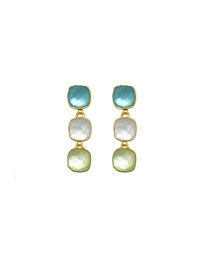 Earring Carre 3 Stone Blue