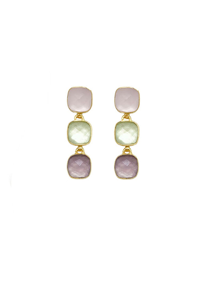 Earring Carre 3 Stone Purple