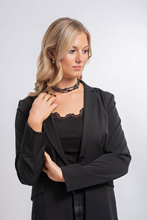 Leather + Pearl Necklace | Black + Black