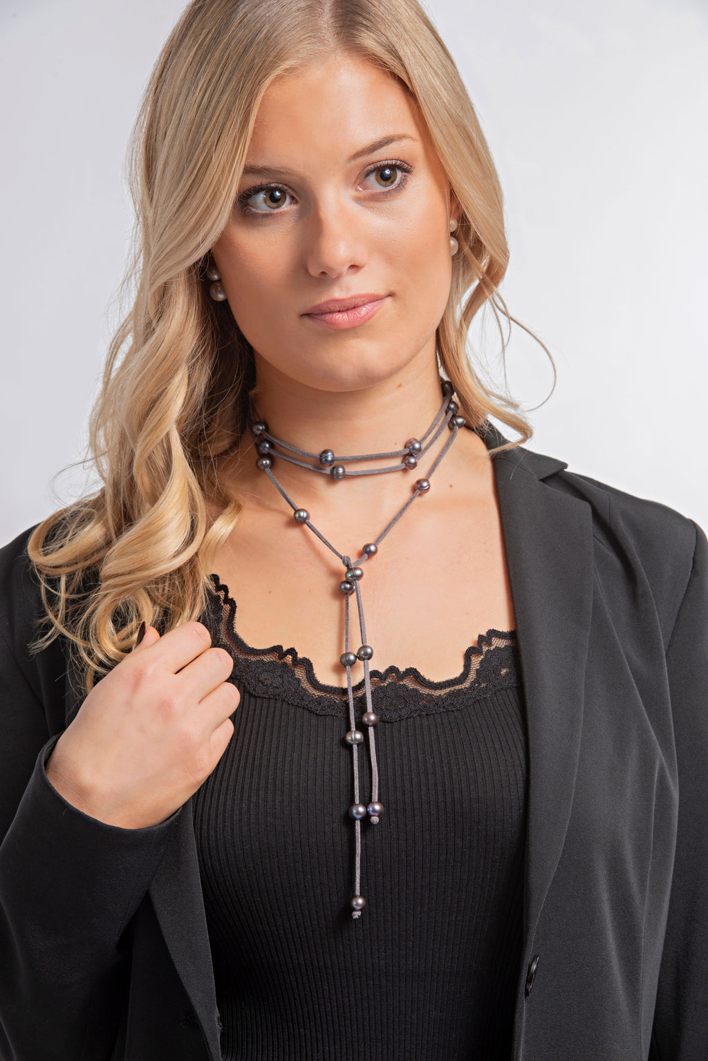Leather + Pearl Necklace | Grey + Dark Grey