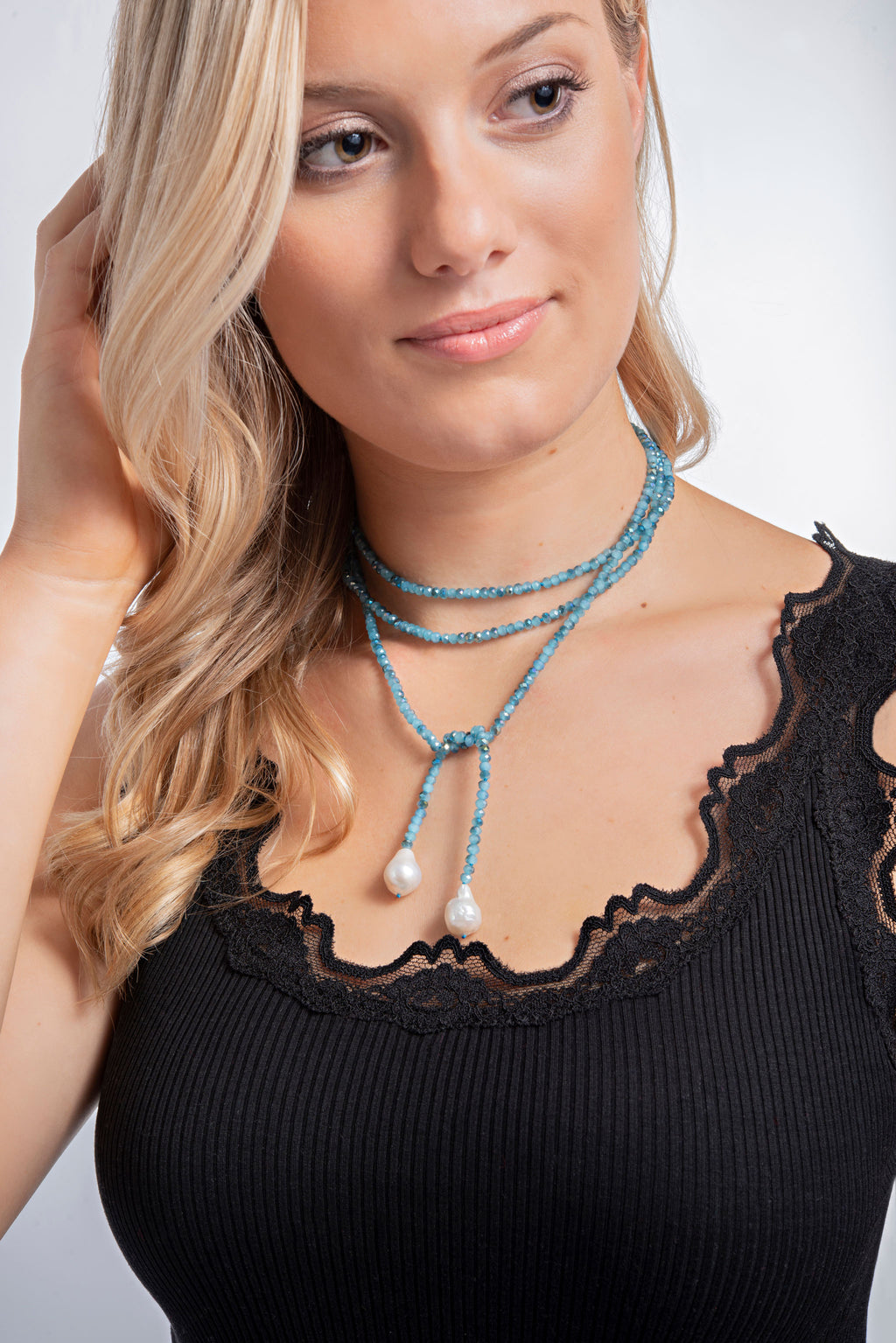 Blue Crystal and Pearl Necklace