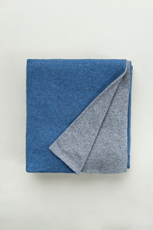 Denim Blue + Medium Grey Cashmere Blanket