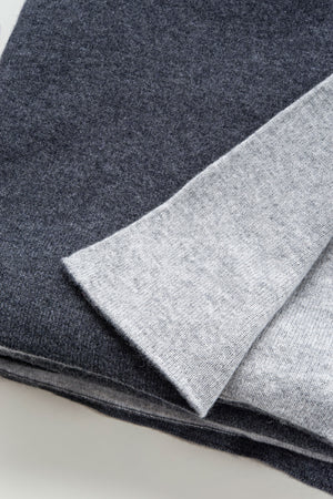 Charcoal & Medium Grey Cashmere Blanket