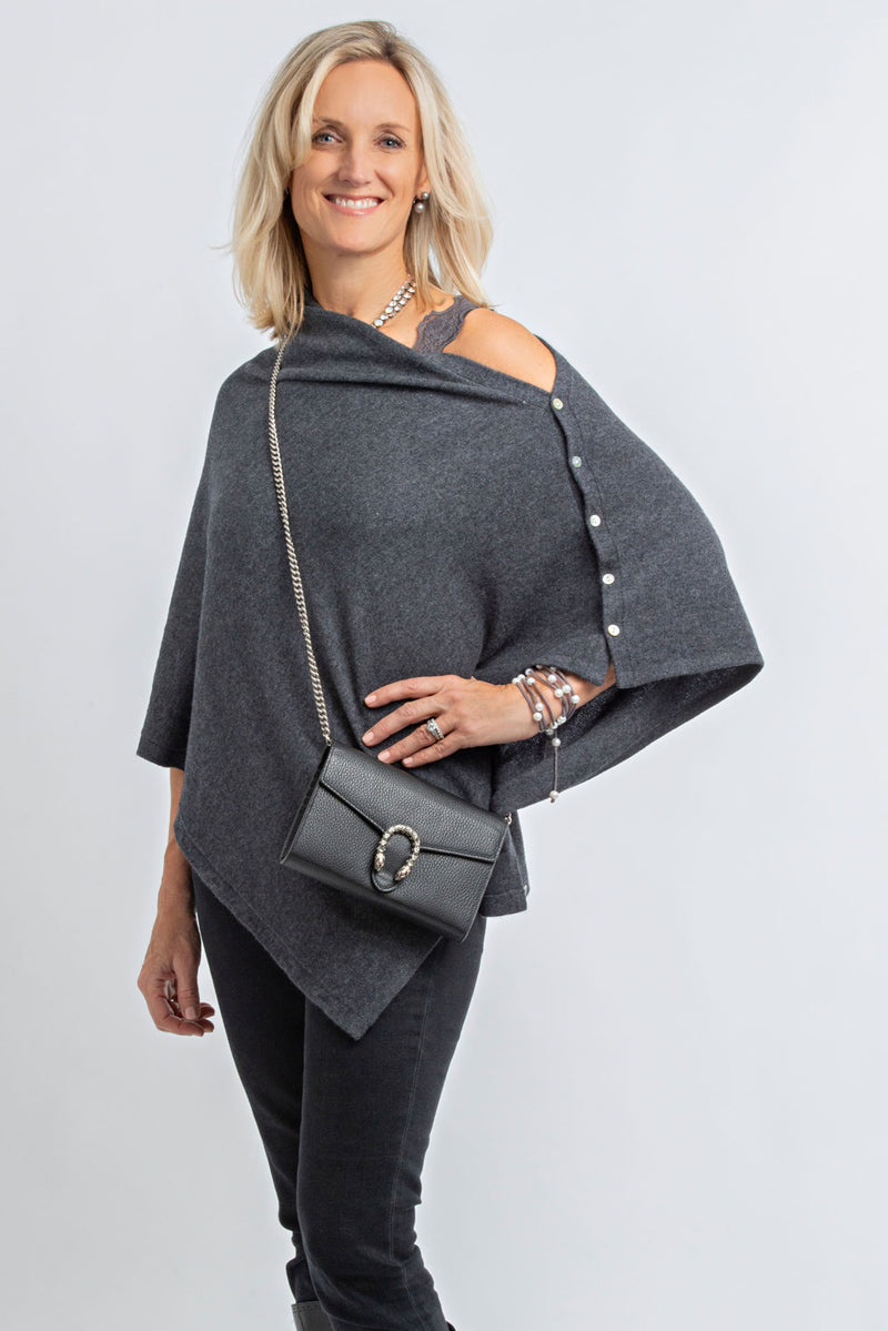 Charcoal Grey Poncho - Cashmere - Queen & Grace