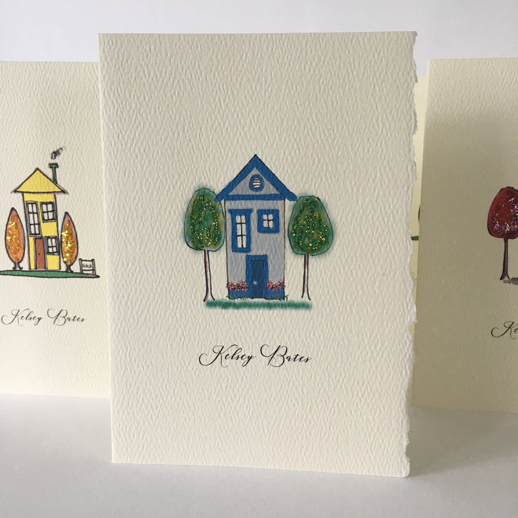 Funky Houses | Glittered Notecards