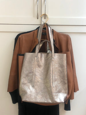 Leather Tote | Metallic Grey