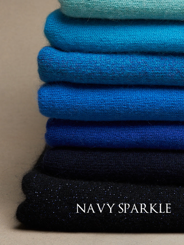 Navy Sparkle Cashmere Poncho Y-271