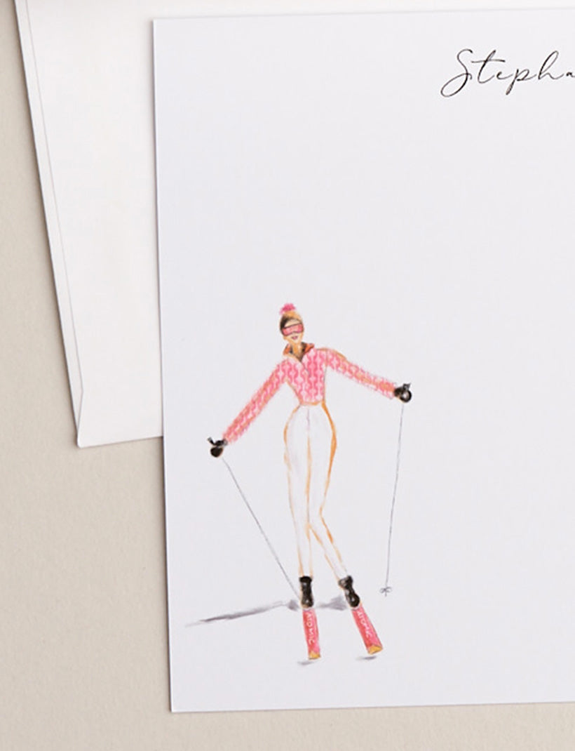PINK SKIER | Flat Panel Cards - [product_type] - Queen & Grace