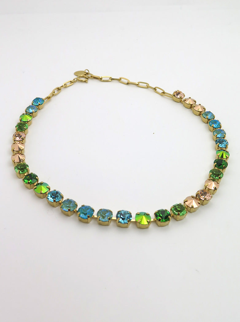 Swarovski Necklace | Turquoise, Green + Gold