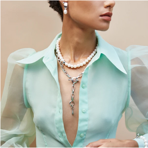 Paloma Pearl + Silver Collar | Pearl Necklace
