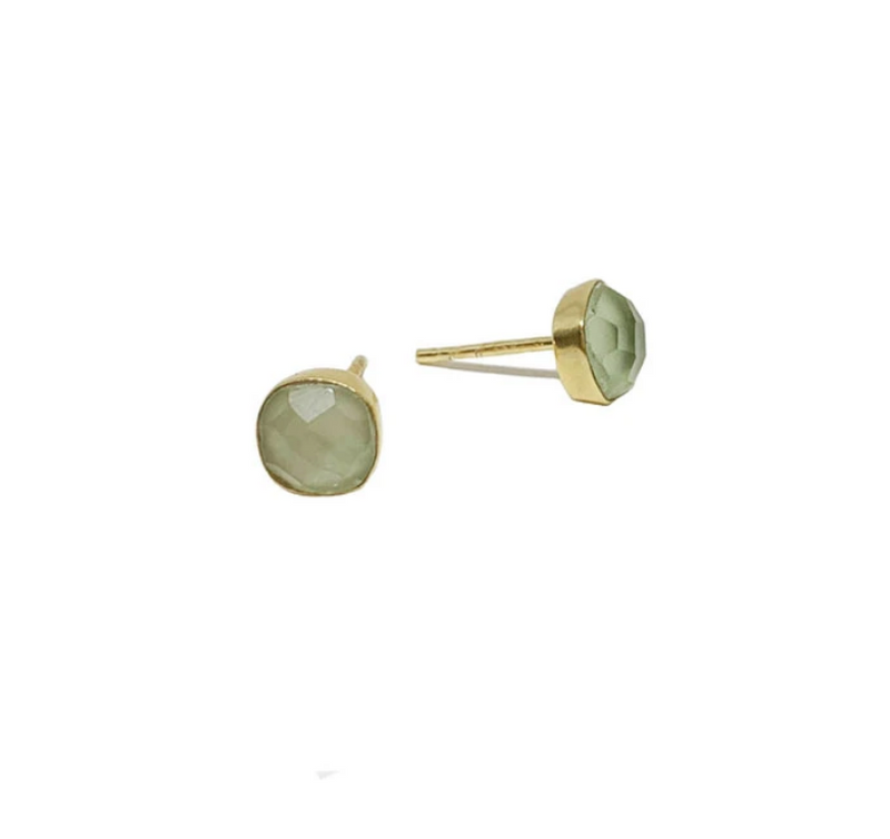 Carre Stud | Green Amethyst Earrings