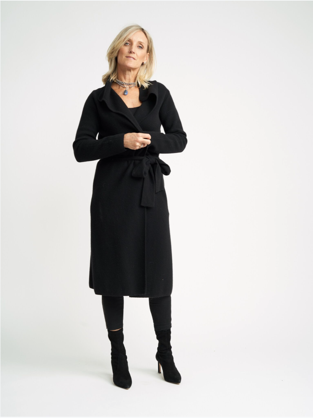 Belted Cashmere Coat Cardigan | Charcoal