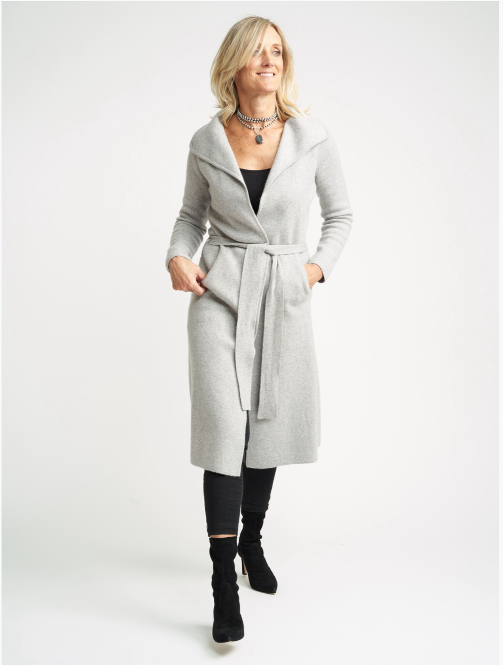Belted Cashmere Coat Cardigan | Light Grey