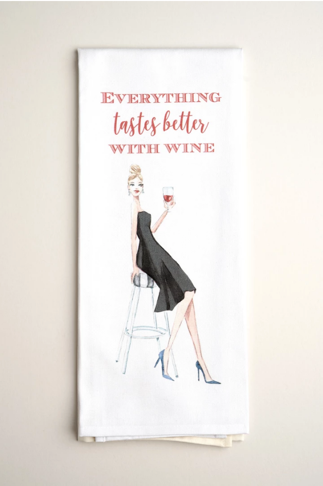 TEA TOWELS | Better with Wine - Accessories - Queen & Grace