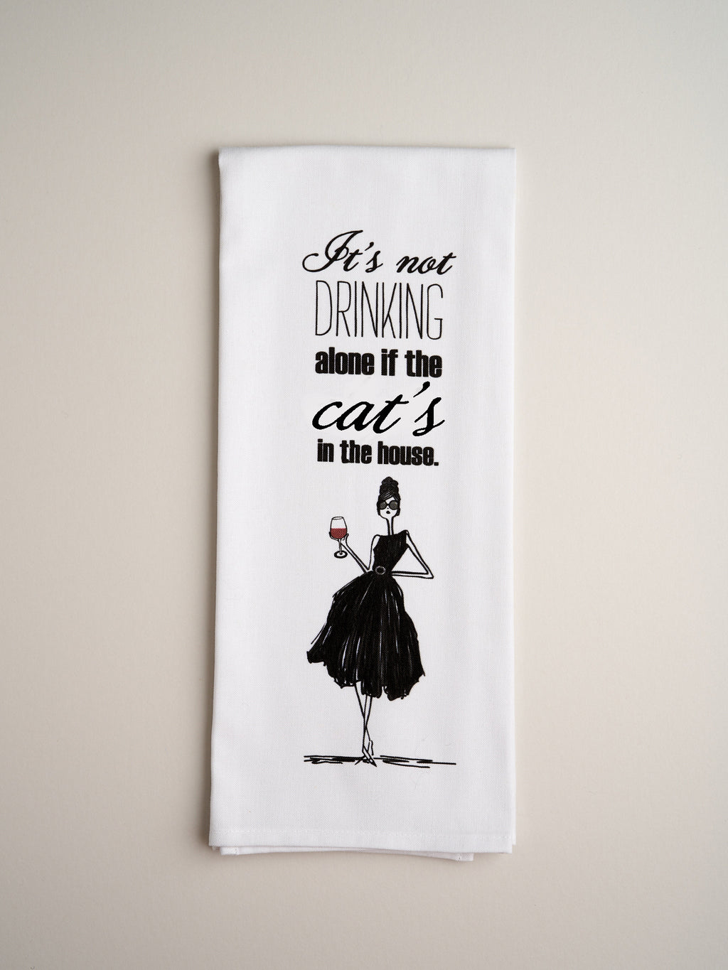 TEA TOWELS | Drinking Alone Cat