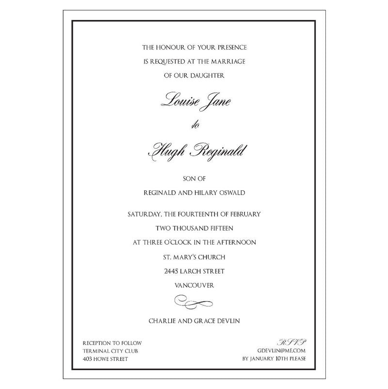 Wedding - Louise + Hugh - Invitations - Queen & Grace