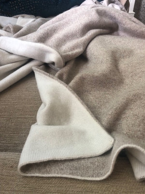 Cream and Oatmeal | Double Sided Cashmere Blanket - Cashmere - Queen & Grace
