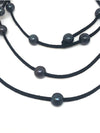 Black Pearl & Black Leather Necklace