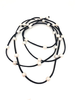 Pearl & Black Leather Necklace
