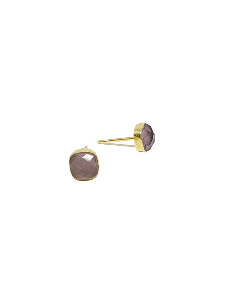 Earring Carre Stud | Purple Amethyst
