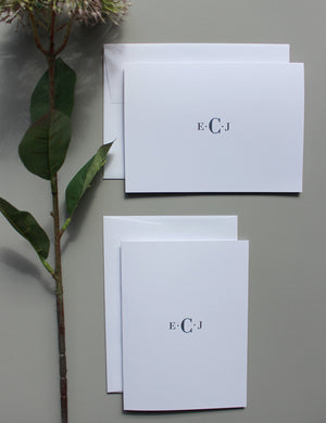 FOLDED Notecards | Stylish Monograms - Notecards - Queen & Grace